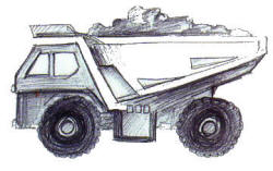 Pencil Sketch Dumper Truck
