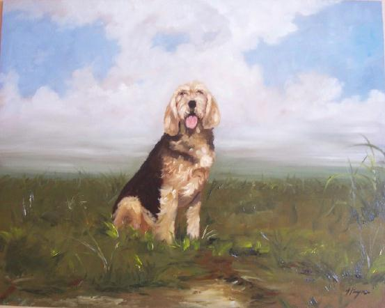 Oil Painting of otterhound