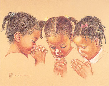 Three Girls Praying Art Print